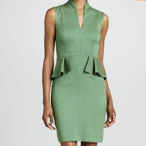 T Tahari Green Chelle Peplum Dress
